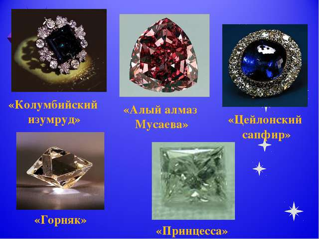 «Колумбийский изумруд» «Алый алмаз Мусаева» «Цейлонский сапфир» «Горняк» «При...