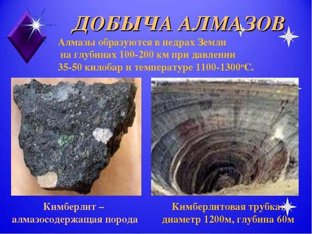 ДОБЫЧА АЛМАЗОВ Кимберлит – алмазосодержащая порода Алмазы образуются в недрах...