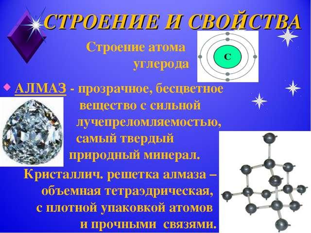 СТРОЕНИЕ И СВОЙСТВА АЛМАЗ - прозрачное, бесцветное вещество с сильной лучепре...