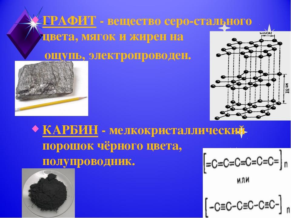 ГРАФИТ - вещество серо-стального цвета, мягок и жирен на ощупь, электропровод...