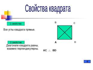 Все углы квадрата прямые. Диагонали квадрата равны, взаимно перпендикулярны.