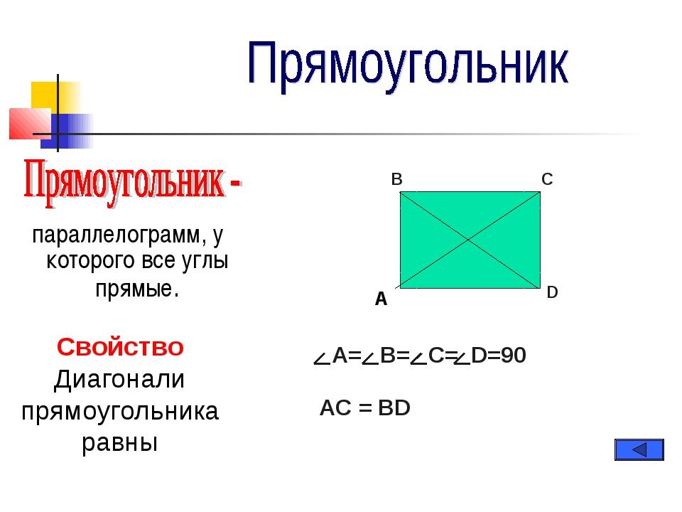 параллелограмм, у которого все углы прямые. A= B= C= D=90 A B C D Свойство Д...