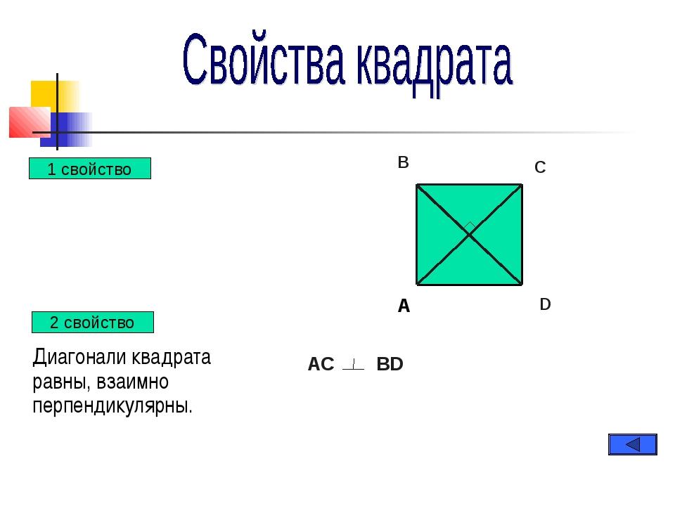 Диагонали квадрата равны, взаимно перпендикулярны. A B C D АС BD 2 свойство...