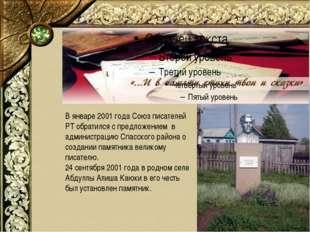 В январе 2001 года Союз писателей РТ обратился с предложением в администрацию