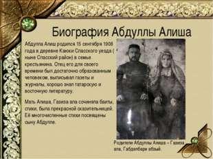 Абдулла Алиш родился 15 сентября 1908 года в деревне Каюки Спасского уезда (