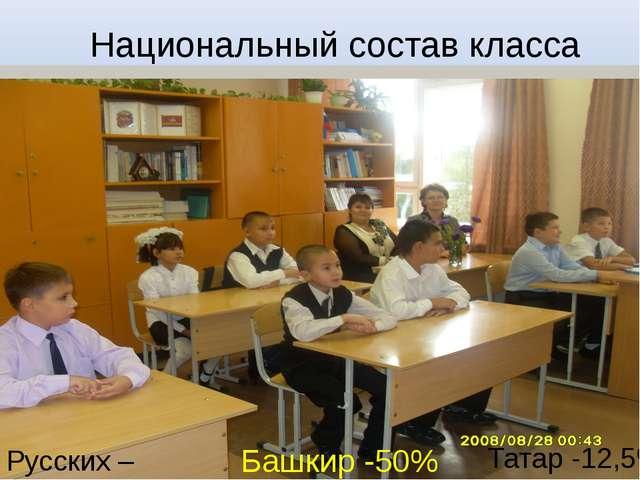 Национальный состав класса Русских – 37,5% Башкир -50% Татар -12,5%