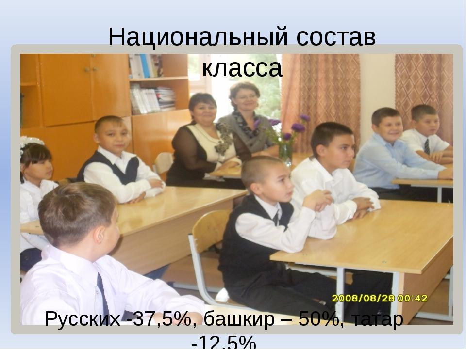 Национальный состав класса Русских -37,5%, башкир – 50%, татар -12,5%