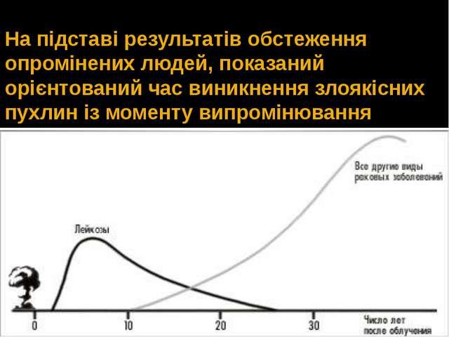На підставі результатів обстеження опромінених людей, показаний орієнтований...