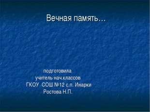 Вечная память… подготовила учитель нач.классов ГКОУ СОШ №12 с.п. Инарки Рост