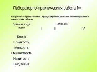 Лабораторно-практическая работа №1 Инструменты и приспособления: Образцы шер
