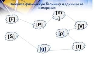[F] Назовите физическую величину и единицы ее измерения [S] [g] [P] [t] [ρ] [