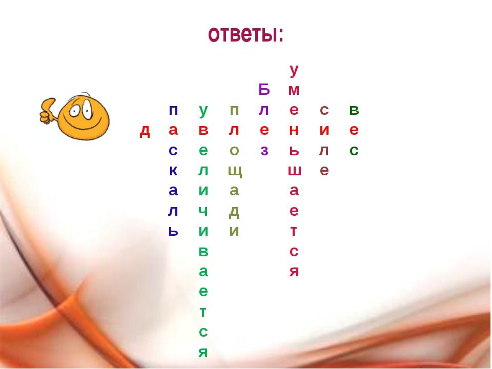 ответы: у Б м п у п л е с в д а в л е н и е с е о з ь л с к л щ ш е а и а а л...