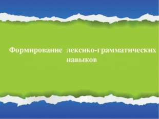 Формирование лексико-грамматических навыков