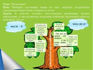 """Тема: """"Environment"""" Цель: Обобщить полученные знания по теме, закрепить упот"""
