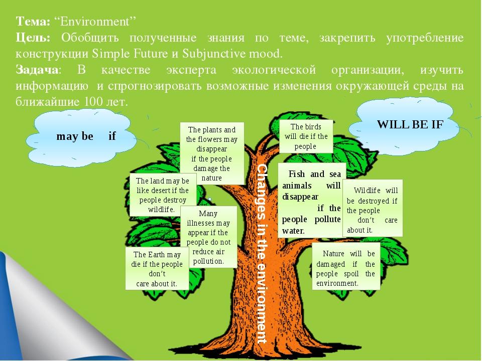 """Тема: """"Environment"""" Цель: Обобщить полученные знания по теме, закрепить упот..."""