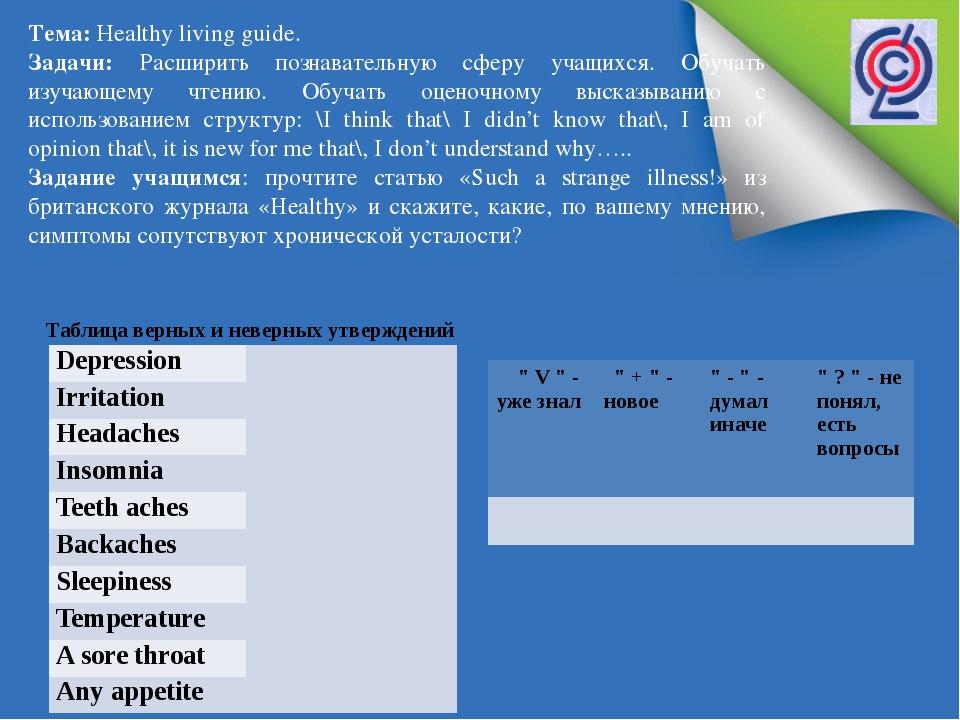 Тема: Нealthy living guide. Задачи: Расширить познавательную сферу учащихся....