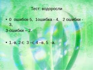 Тест: водоросли 0 ошибок-5, 1ошибка - 4, 2 ошибки - 3, 3-ошибки – 2. 1.-в, 2-