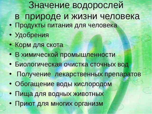 Значение водорослей в природе и жизни человека Продукты питания для человека...