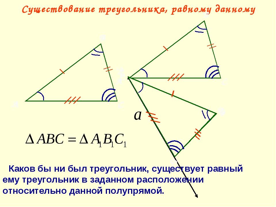 Существование треугольника, равному данному А В С Каков бы ни был треугольник...