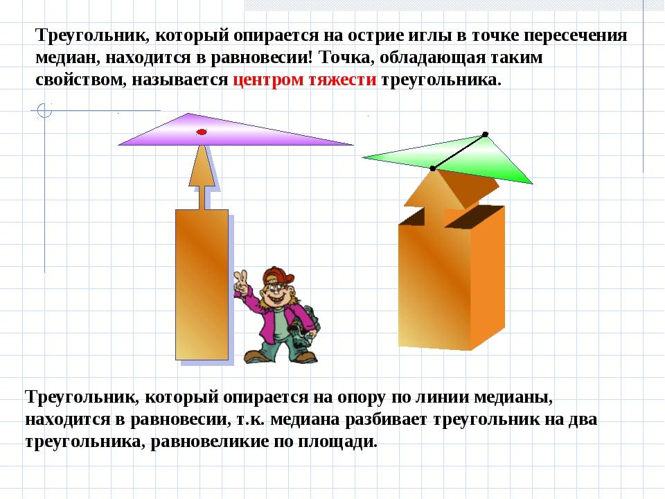 Треугольник, который опирается на опору по линии медианы, находится в равнов...