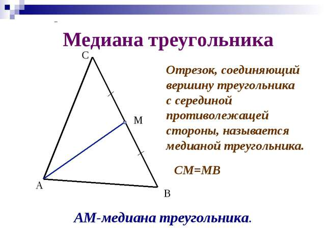 Медиана треугольника А В С М Отрезок, соединяющий вершину треугольника с сере...