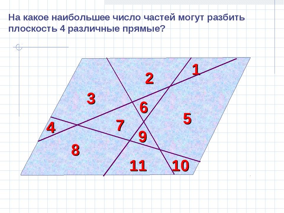 На какое наибольшее число частей могут разбить плоскость 4 различные прямые?...