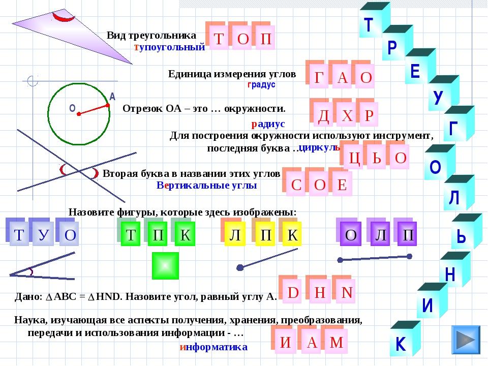 Л О У Н градус Вторая буква в названии этих углов Т Р Е Г Ь И К Т Г Р Вид тре...