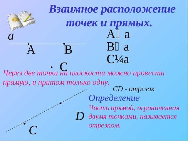 Взаимное расположение точек и прямых. . А∊a . А B B∊a . C C∉a а Через две точ...