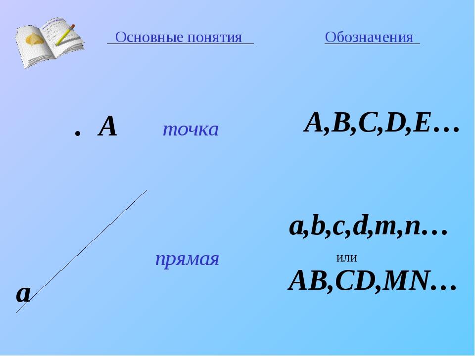 Основные понятия Обозначения точка прямая A,B,C,D,E… a,b,c,d,m,n… или AB,CD,M...