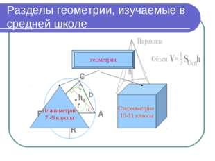 Разделы геометрии, изучаемые в средней школе геометрия Планиметрия 7 -9 класс
