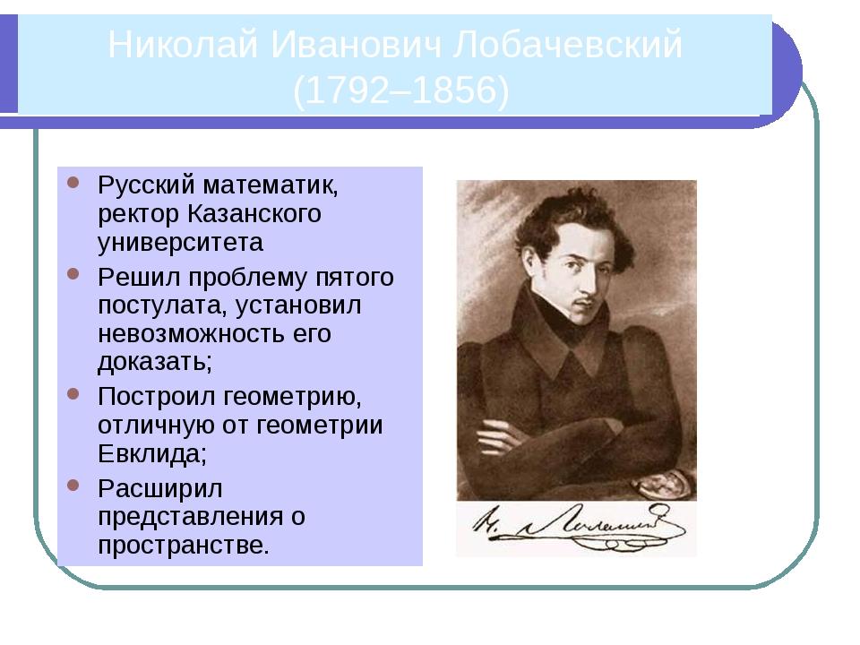 Николай Иванович Лобачевский (1792–1856) Русский математик, ректор Казанского...