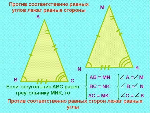 А M В N С K Если треугольник АВС равен треугольнику MNK, то АВ = MN А = M ВС...