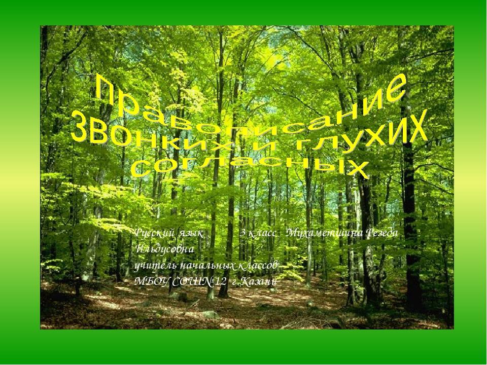Русский язык 3 класс Мухаметшина Резеда Ильдусовна учитель начальных классов...