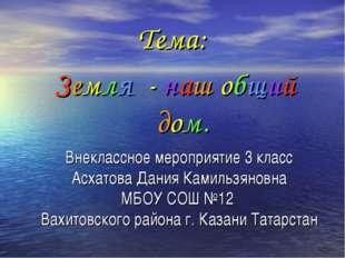 Внеклассное мероприятие 3 класс Асхатова Дания Камильзяновна МБОУ СОШ №12 Вах
