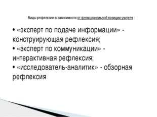 Виды рефлексии в зависимости от функциональной позиции учителя : • «эксперт