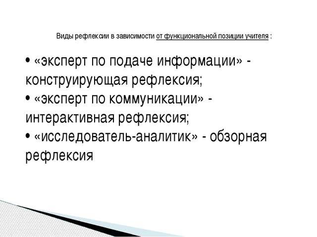 Виды рефлексии в зависимости от функциональной позиции учителя : • «эксперт...
