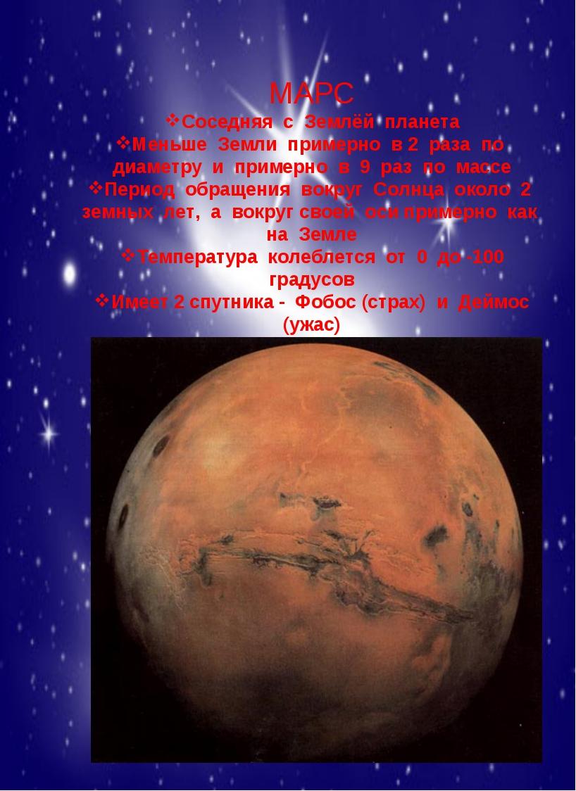 МАРС Соседняя с Землёй планета Меньше Земли примерно в 2 раза по диаметру и...