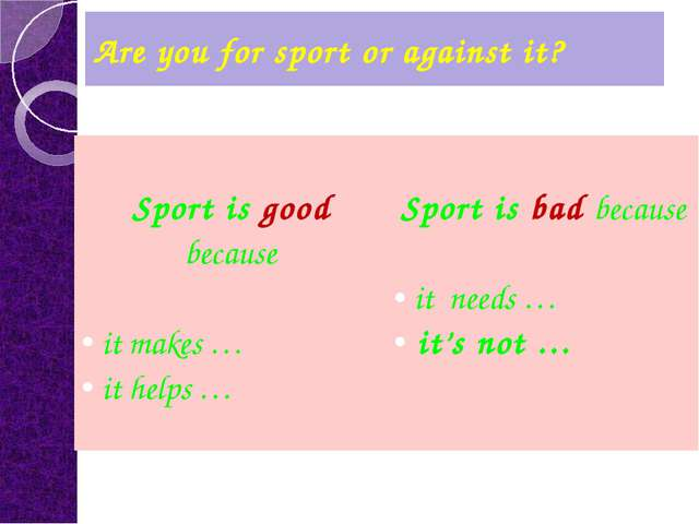 Are you for sport or against it? Sport isgoodbecause itmakes … ithelps … Spor...
