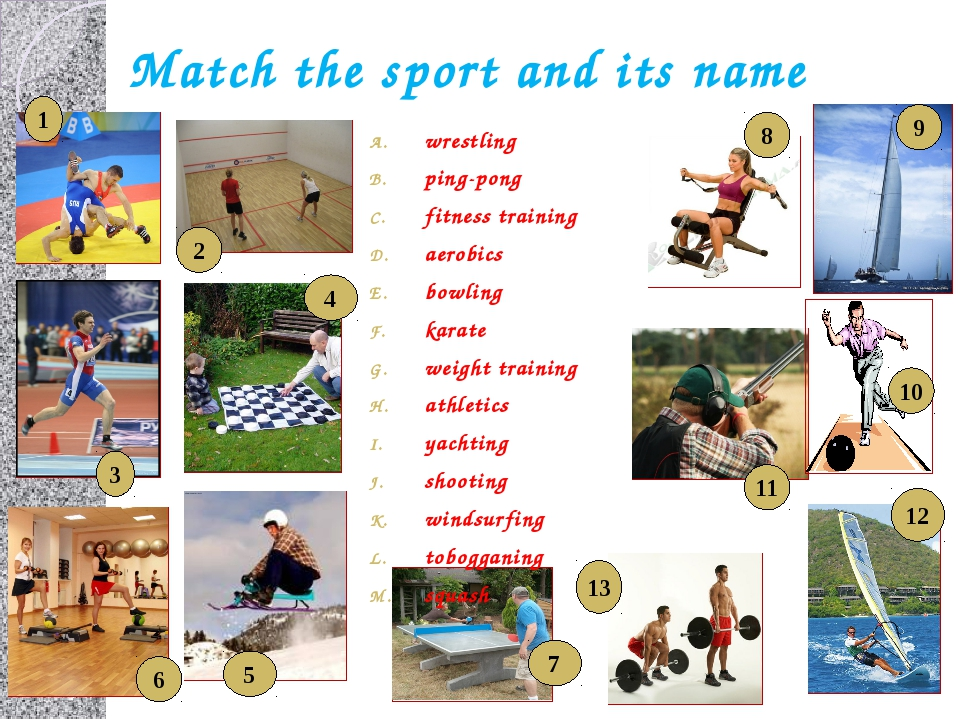 Match the sport and its name wrestling ping-pong fitness training aerobics bo...