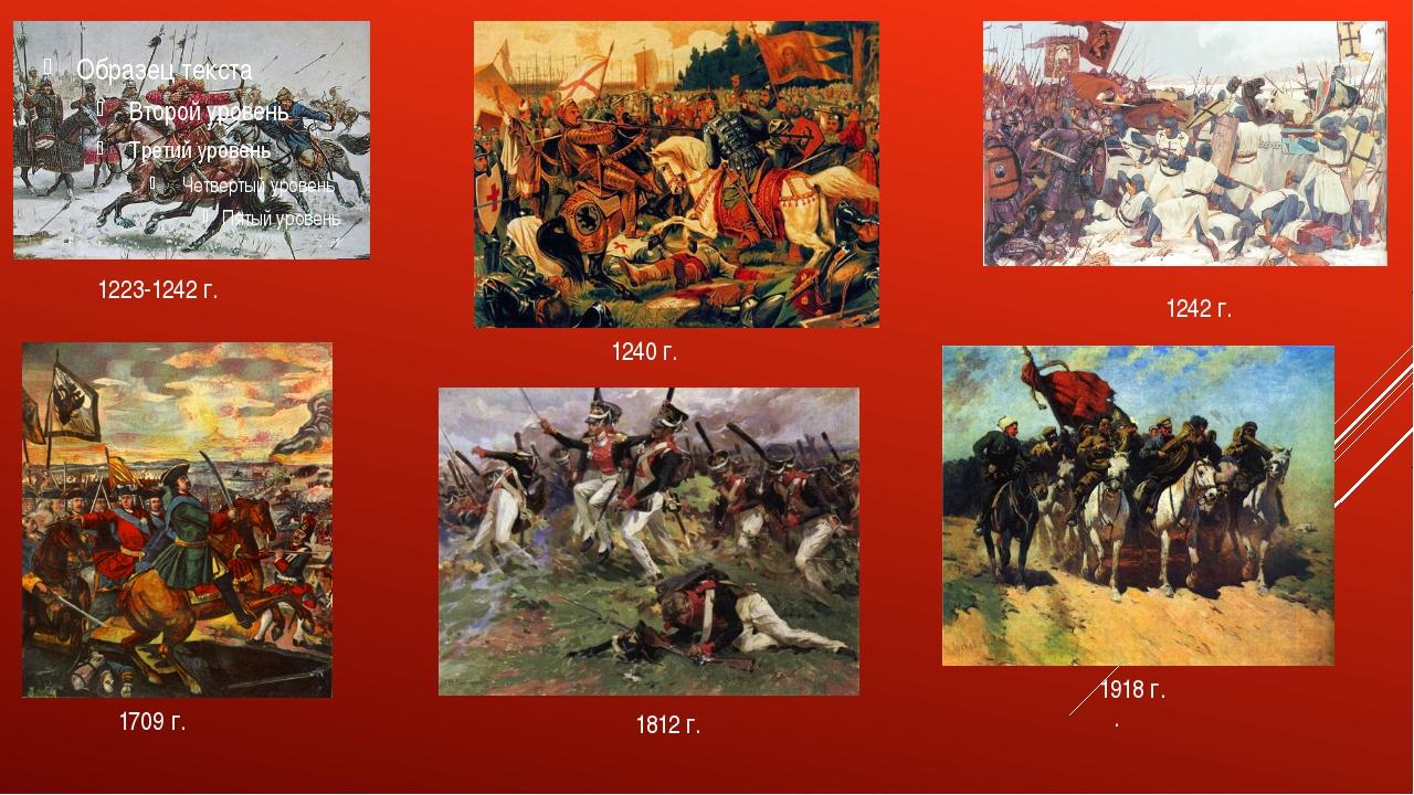 1223-1242 г. 1242 г. 1240 г. 1709 г. 1812 г. . 1918 г.