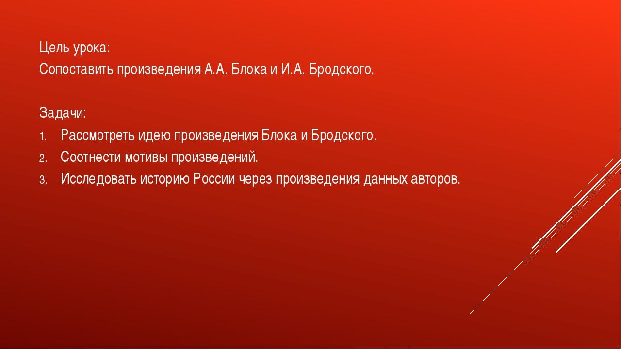 Цель урока: Сопоставить произведения А.А. Блока и И.А. Бродского. Задачи: Ра...