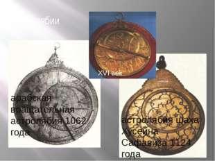 астролябии XVI век арабская вращательная астролябия 1062 года астролябия шаха