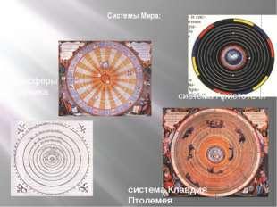 Системы Мира: система Аристотеля система Клавдия Птолемея планисферы Коперника