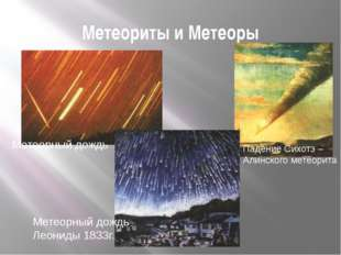 Метеориты и Метеоры Метеорный дождь Леониды 1833г. Метеорный дождь Падение Си