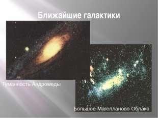 Ближайшие галактики Туманность Андромеды Большое Магелланово Облако