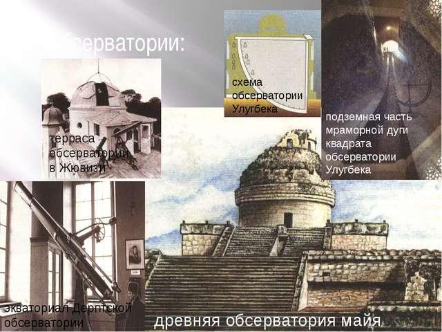 3) обсерватории: древняя обсерватория майя схема обсерватории Улугбека подзем...