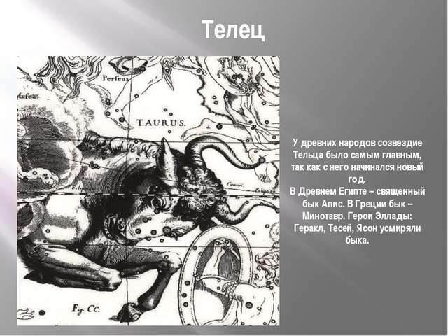 Телец У древних народов созвездие Тельца было самым главным, так как с него н...