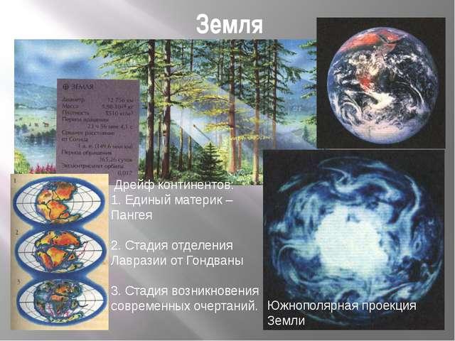 Земля Южнополярная проекция Земли Дрейф континентов: 1. Единый материк – Панг...