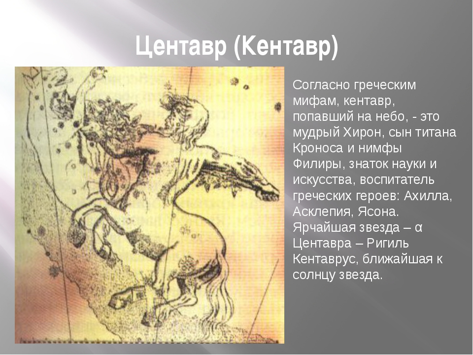 Центавр (Кентавр) Согласно греческим мифам, кентавр, попавший на небо, - это...