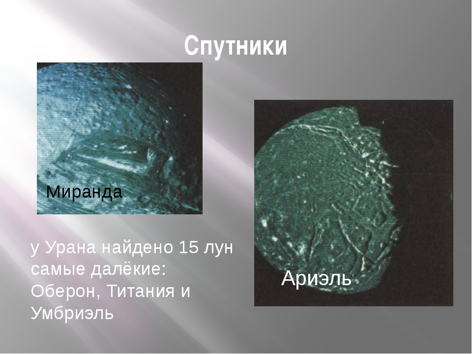 Спутники у Урана найдено 15 лун самые далёкие: Оберон, Титания и Умбриэль Ари...